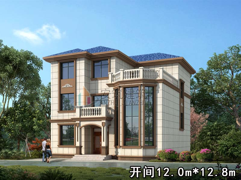 欧式三层农村小洋楼自建房别墅设计图纸及效果图,安筑建筑,az176|别墅