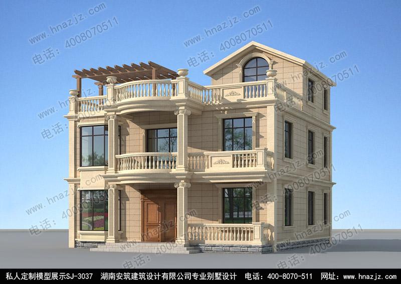 三层带露台欧式小别墅设计效果图 别墅设计图纸 别墅