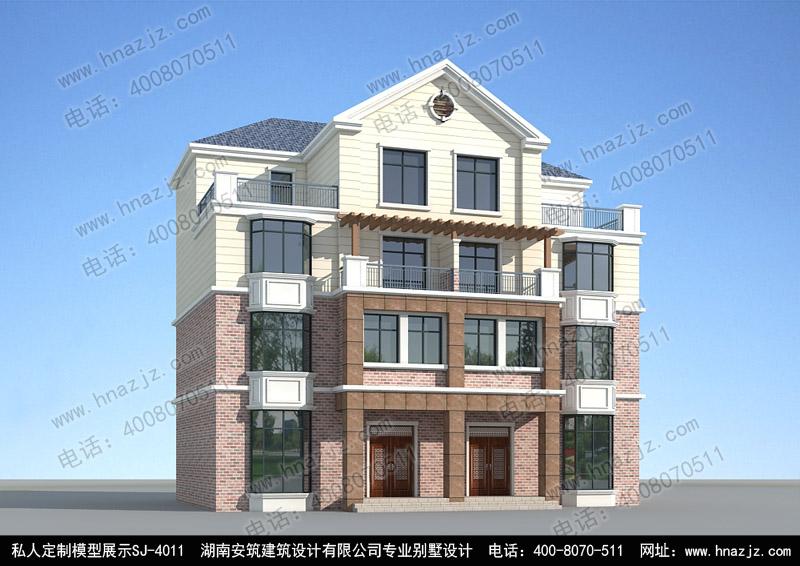 四层双拼别墅普通农村房子设计图