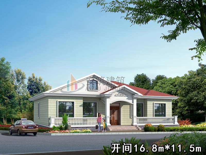热卖农村自建房设计图纸 一层欧式带阁楼施工图 别墅设计图gc101|一层