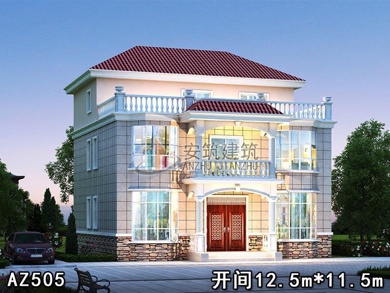 12.5×11.5的农村è‡aå»o房设计图,三层别墅设计AZ505