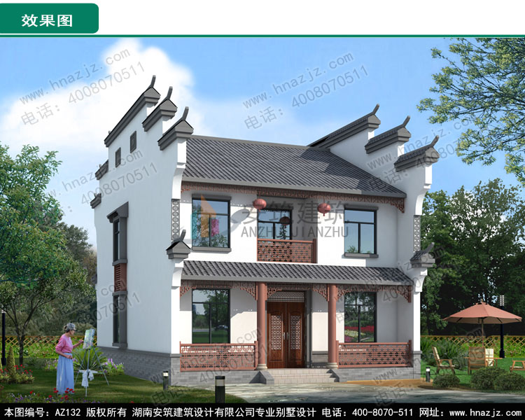 az132新中式徽派传统别墅设计图,二层别墅设计图