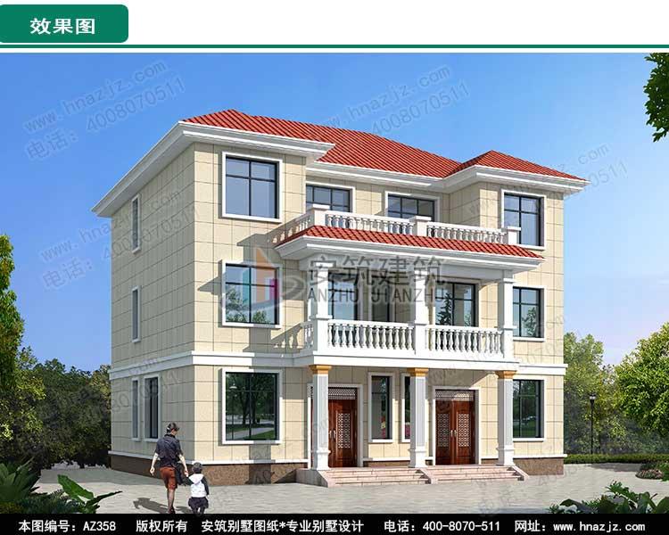 三层兄弟双拼房设计二层半双拼别墅效果图施工图,简约气派!