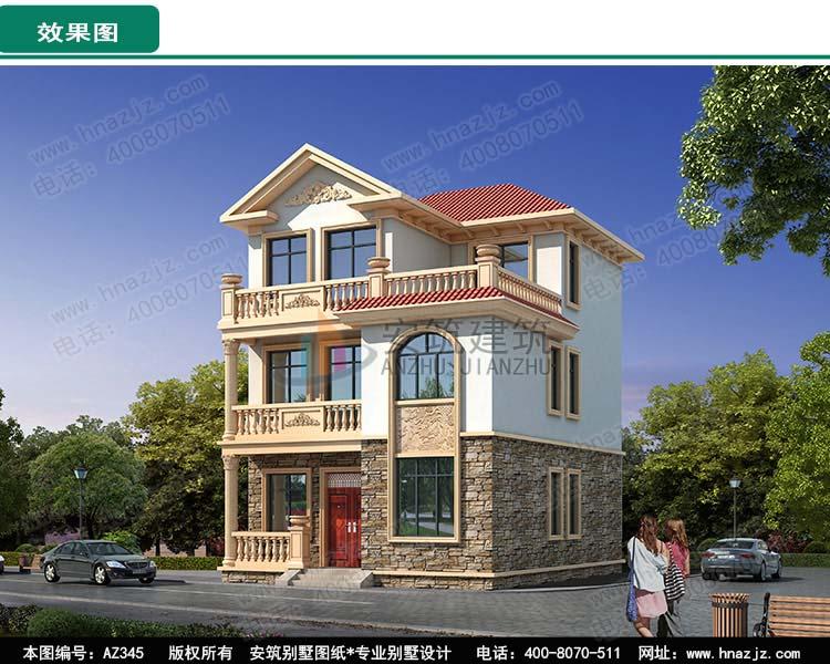 8x10米乡村图纸别墅之家,农村三层小面积80平户型.jpg